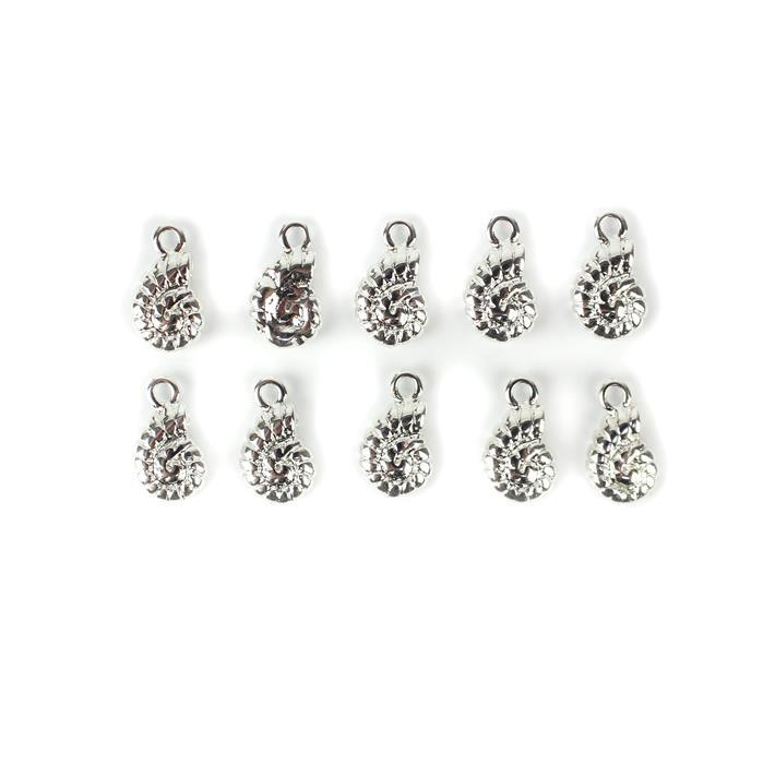 Silver Plated Base Metal Round Sea Shell Charms, Approx 14x8mm (10pcs)