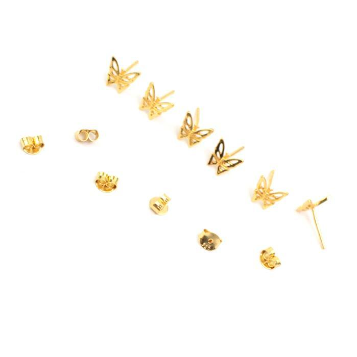 Gold Plated 925 Sterling Silver Filigree Butterfly Earrings with Butterfly back Approx 8mm 3 Pairs