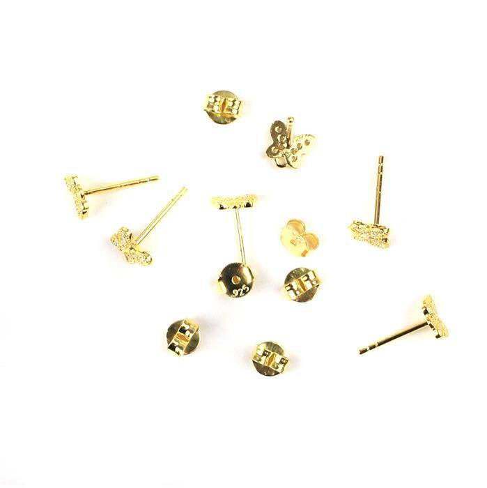 Gold Plated 925 Sterling Silver Cubic Zirconia Spring Butterfly Earring Posts With Butterfly Back Approx 6.5mm, 3 Pairs