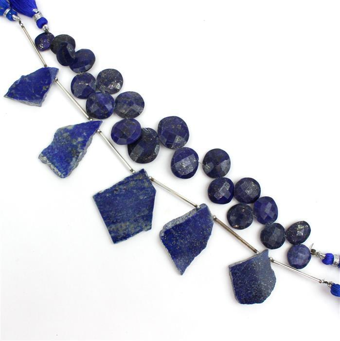 Double Trouble  144cts Lapis Lazuli Graduated Faceted Fancy Shapes & 90cts Plain Slabs