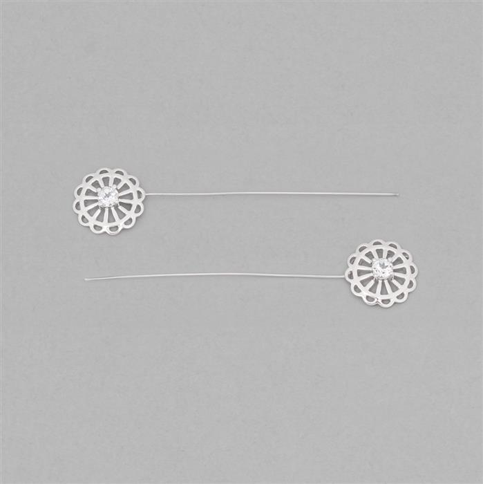 925 Sterling Silver Gemset Fancy Headpin Approx 64x14mm Inc. 0.68cts White Topaz Brilliant Round Approx 4mm, Wire Thickness Approx 0.6mm (2pcs)