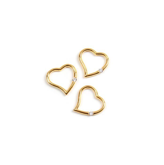 Gold Plated 925 Sterling Silver My CZ Heart Pendants Approx 20mm 3pk
