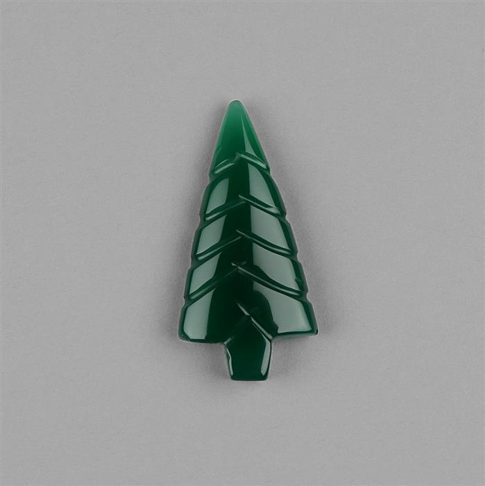 30cts Dyed Green Onyx Carved Christmas Tree Approx 40x20mm.