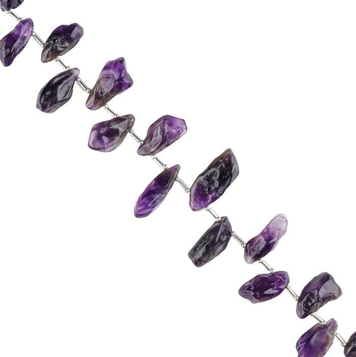 285cts Amethyst Graduated Plain Top Drilled Nuggets Approx 14x5 to 32x12mm,28cm Strand.