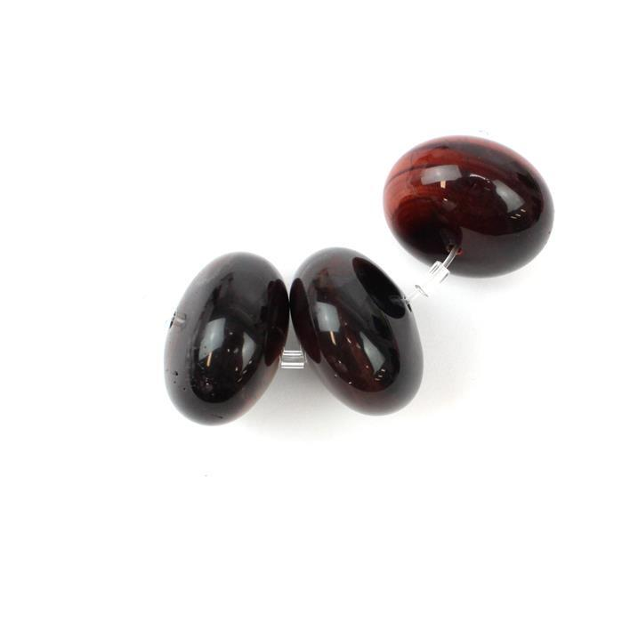 350cts Red Tigers Eye Plain Rondelles Approx 19x30mm, 3PCS