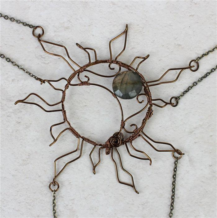 Sun & Moon: Labradorite faceted coins & plain rondelles, Antique bronze wires & 5m chain