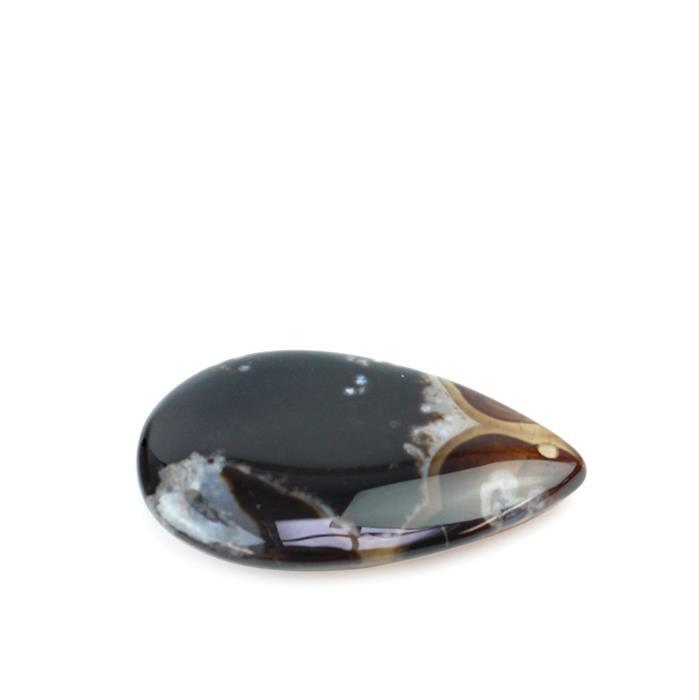80cts Black Flower Agate Drop Pendant  Approx30x50mm (1pk)