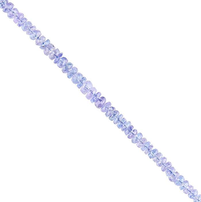15cts Tanzanite Faceted Rondelles Approx 2x1 to 3x2mm, 18cm Strand.
