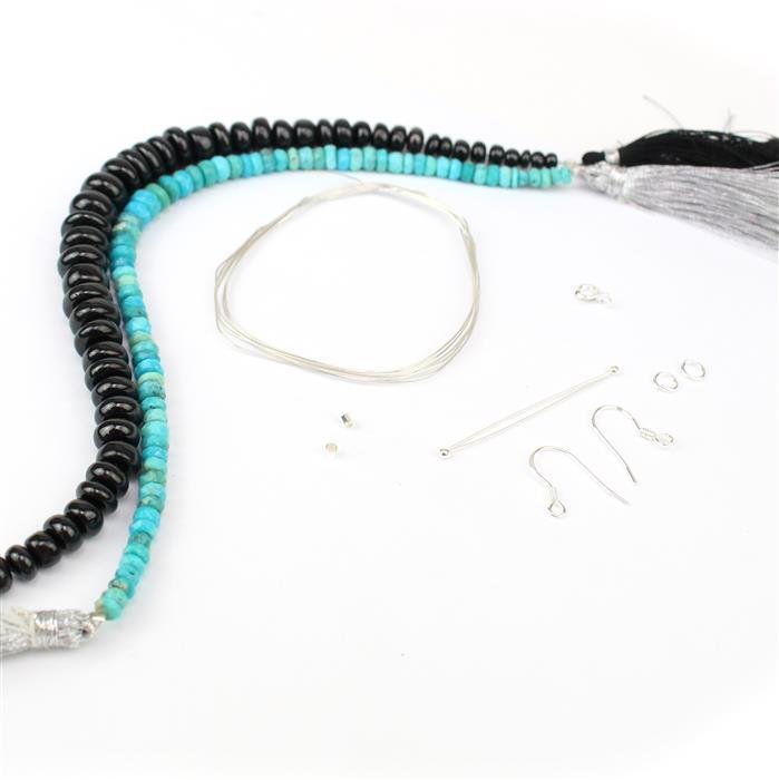 Fairytale Treat; 30cts Sleeping Beauty Turquoise, 140cts Black Spinel & Sterling Silver