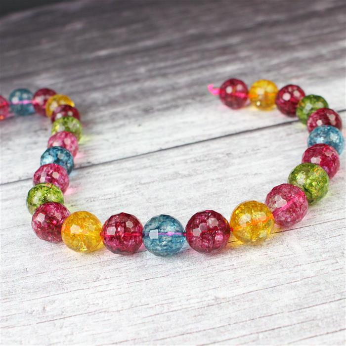 500cts Multi-Colour Quartz Faceted Rounds Approx 14mm 38cm strand