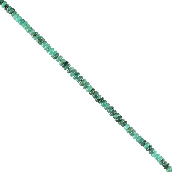 32cts Emerald Graduated Plain Rondelles Approx 2x1 to 5x3mm, 20cm Strand.