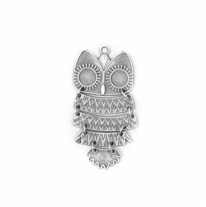 Oxidised Silver Plated Alloy Owl - 80x40mm
