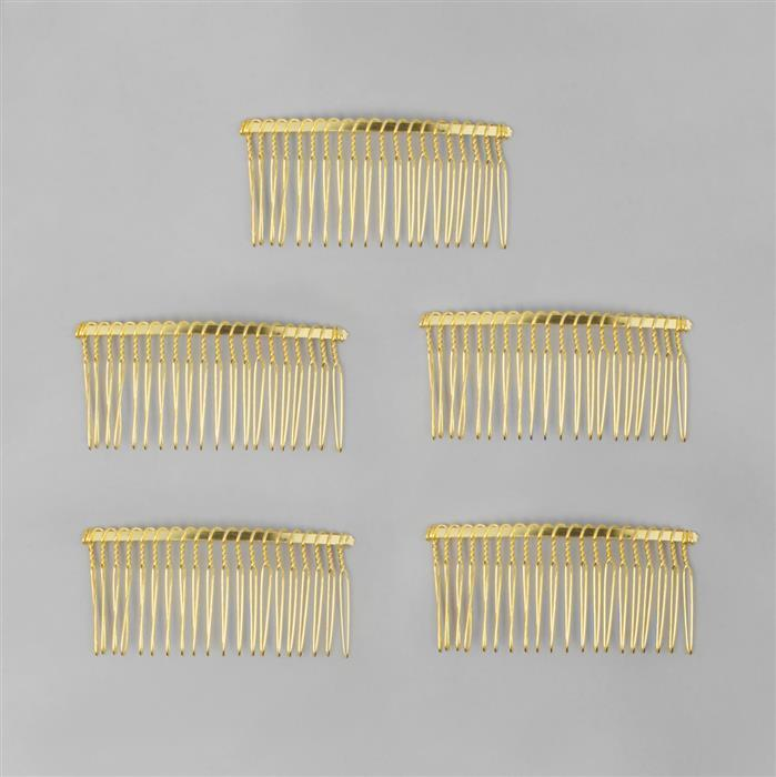 Gold Coloured Hair Combs (5pcs) Approx 8x4cm
