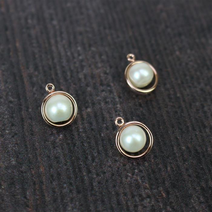 Rose Gold Plated 925 Sterling Silver Freshwater Cultured Pearl Charms Approx 13x10mm Pearl Approx 8mm, 3pcs
