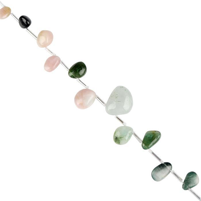 98cts Multi Colour Tourmaline Graduated Plain Nuggets Approx 7x6 to 17x11mm, 18cm Strand.
