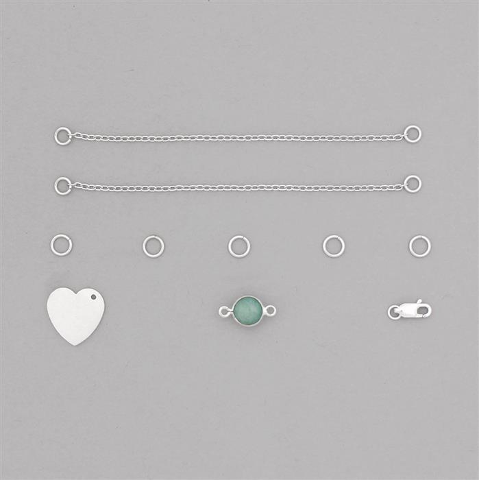 Birthstone Kit: 925 Sterling Silver Bracelet Kit Inc. 1.55cts Emerald Brilliant Round Approx 8mm (10pcs)