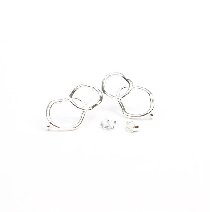 925 Sterling Silver Double Ring Earring Post With Butterfly Back Approx 13x25mm, 1pair