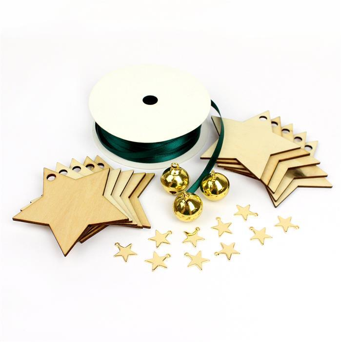 Snowy: 20m Hunter Ribbon, Wooden Star Shapes x10, Gold Bells x3 & Gold plated Stars x10