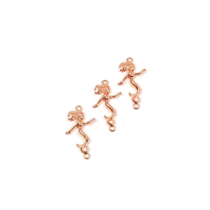 Rose Gold Coloured Vertial Mermaid Connector Approx 31mm, 3pk