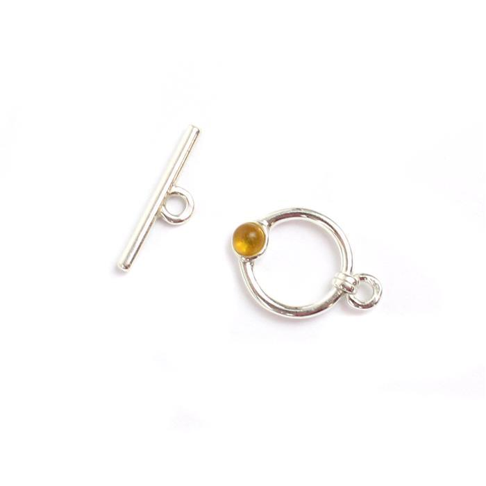 Baltic Lemon Amber Sterling Silver Toggle Clasp, Bar: 15mm, Ring: 11mm