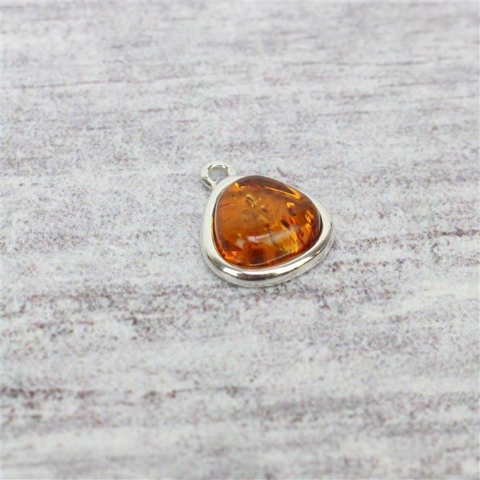 Baltic Cognac Amber Pebble Cabochon Sterling Silver Charm Approx 12x15mm