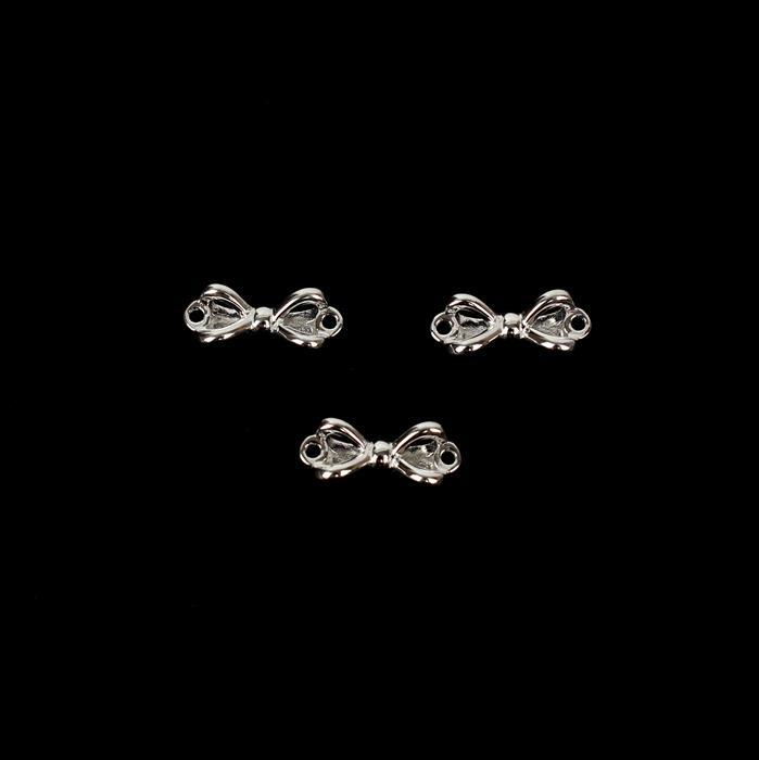 925 Sterling Silver Bow Connectors Approx 5x12mm 3pcs