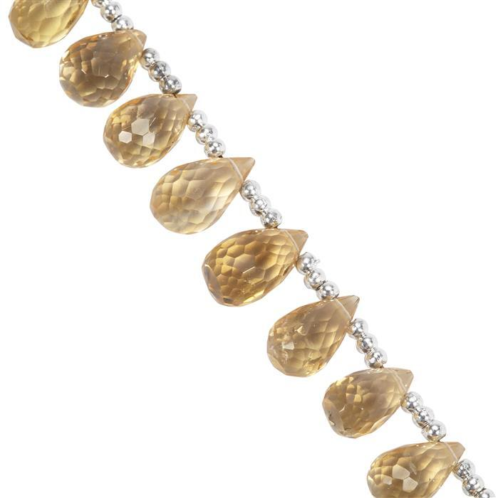 32cts Natural Rio Grande do Sul Citrine Faceted Drops Approx 7.2x4mm to 9.5x6.5mm 20cm Strand