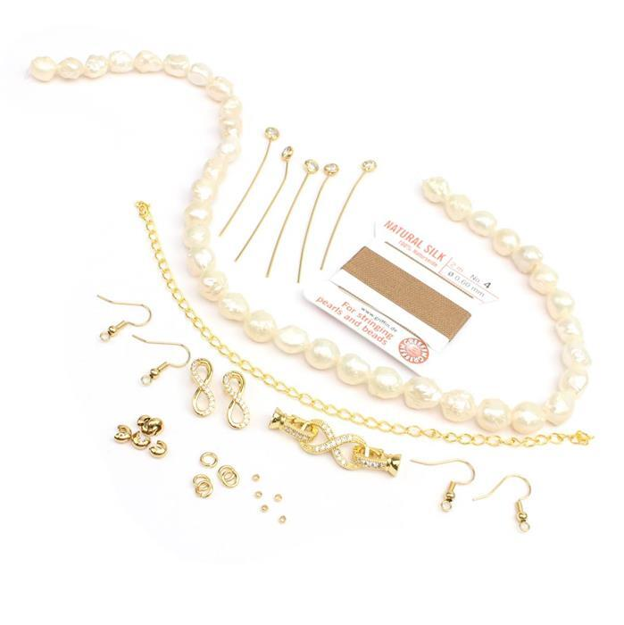 Hedgehog Beauty INC White Hedgehog Pearls, Beige Silk Thread & Gold Plated CZ Findings