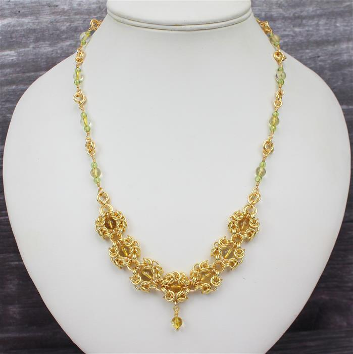 Golden Sunrise Chain Maille: 3, 4, 5 & 7mm Champagne Jump Rings, 6mm Citrine & 4mm Peridot