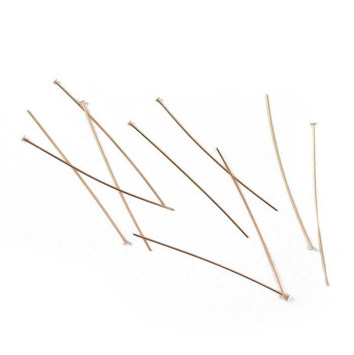 Rose Gold Plated 925 Sterling Silver Headpins - 50mm (0.6mm) - (10pcs/pk)