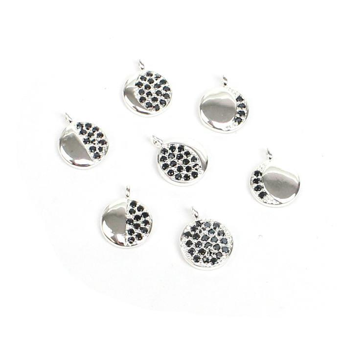 Moon Phases Charm Set: Silver Plated Base Metal With Black CZ, Approx 8mm (7pcs)