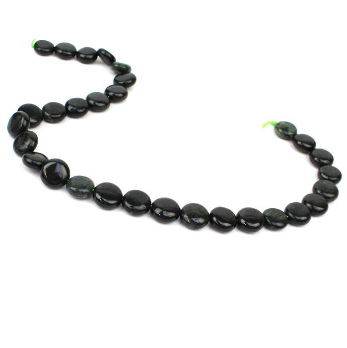 130cts Burmese Black Jadeite Puffy Coins Approx 10mm 30cm strand