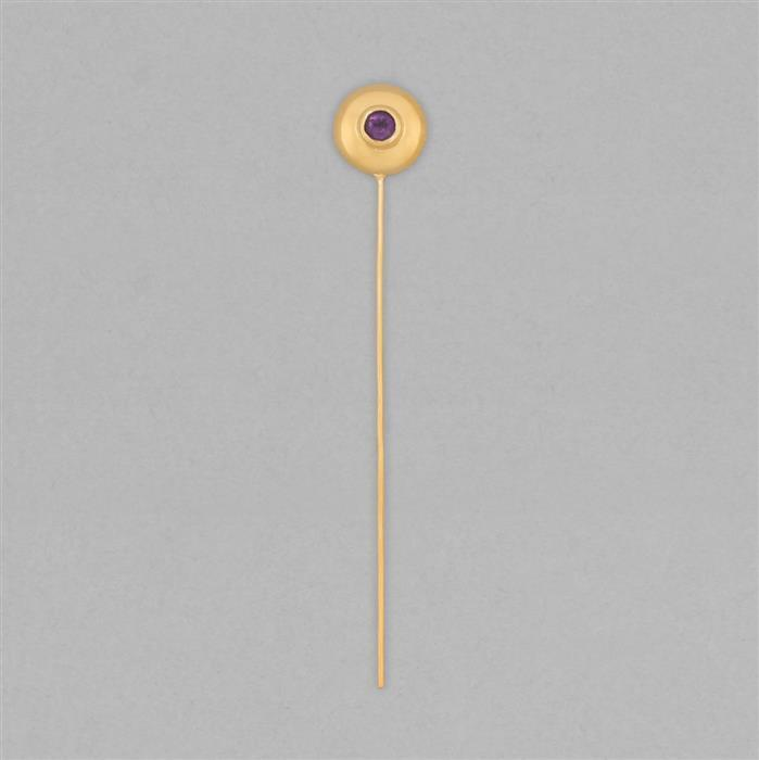 Gold Plated 925 Sterling Silver Gemset Birthstone Headpin Approx 59x9mm Inc. 0.10cts Amethyst Round Approx 3mm