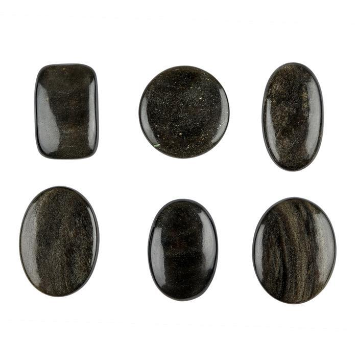 250cts Golden Obsidian Multi Shape Cabochons Assortment.
