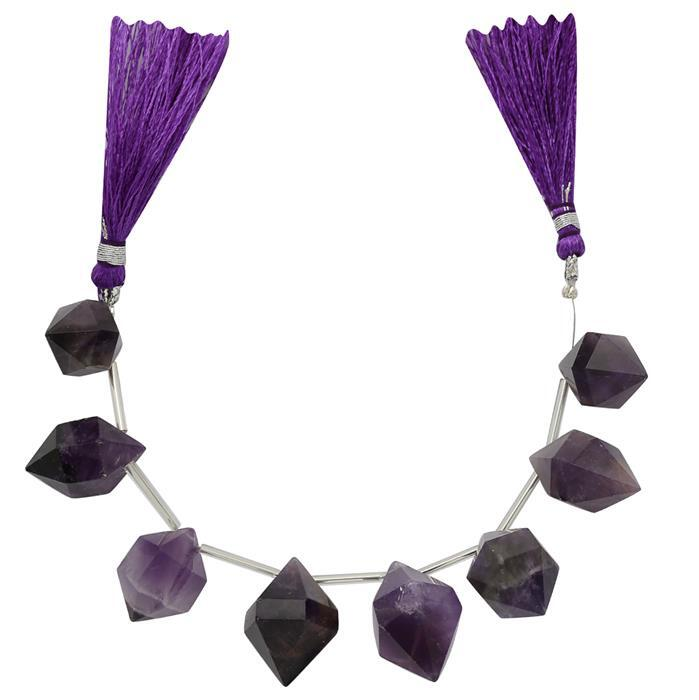 180cts Amethyst Graduated Faceted Bi-Prisms Approx 21x12 to 25x13mm, 12cm Strand.