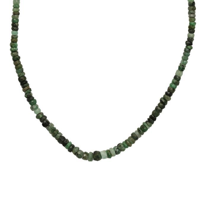 110cts Emerald Graduated Faceted Rondelles Approx 2x1 to 6x3mm, 79cm Strand.