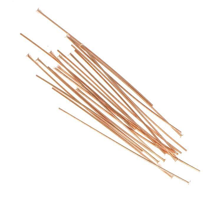 925 Rose Gold Plated Sterling Silver Headpins - 38mm (0.5mm) - (20pcs/pk)