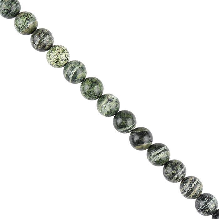135cts Green Zebra Jasper Plain Rounds Approx 10mm, 18cm Strand.