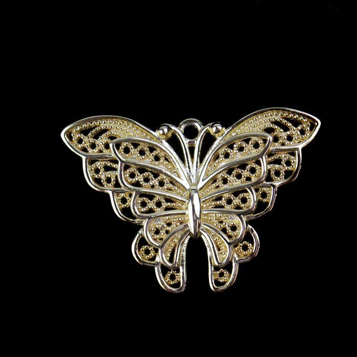 Gold Plated 925 Sterling Silver Filigree Butterfly Double Wing Pendant Approx 20x30mm 1pc