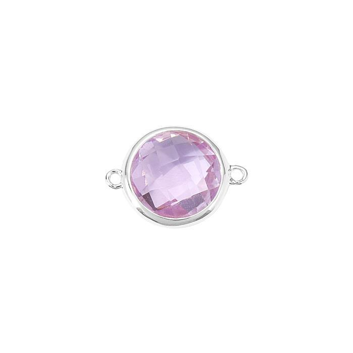 925 Sterling Silver Bezel Connector Approx 19x14mm Inc. 5.30cts Pink Amethyst Briolette Cut Round Approx 12mm.