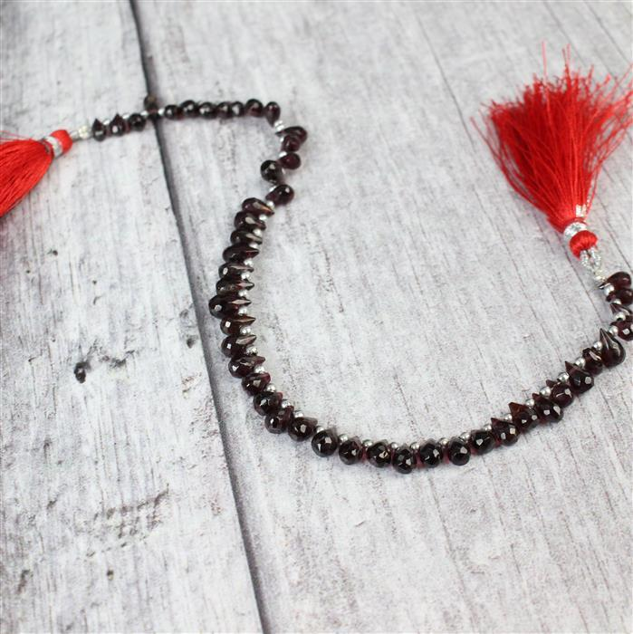 48cts Red Garnet Graduated Faceted Drops Approx 5x3 to 7x4mm, 20cm Strand.