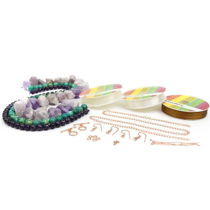 Fantasia; 850cts Amethyst Nuggets, 150cts Amethyst 8mm, Variscite 10mm, Findings & Threading Pack