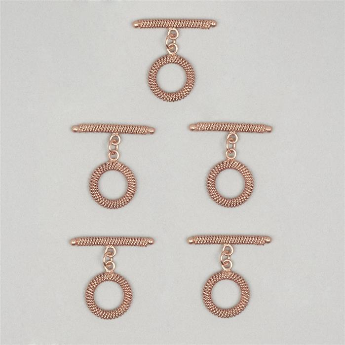 Rose Gold Plated Copper Spiral Toggle Clasp Approx 36mm T-Bar & 20mm Round (5pcs)