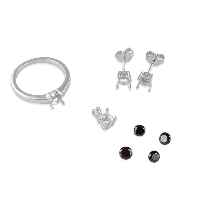 Size 7 - 925 Sterling Silver Mount Fits Inc. 2.80cts Black Diamond Brilliant Cut Rounds.