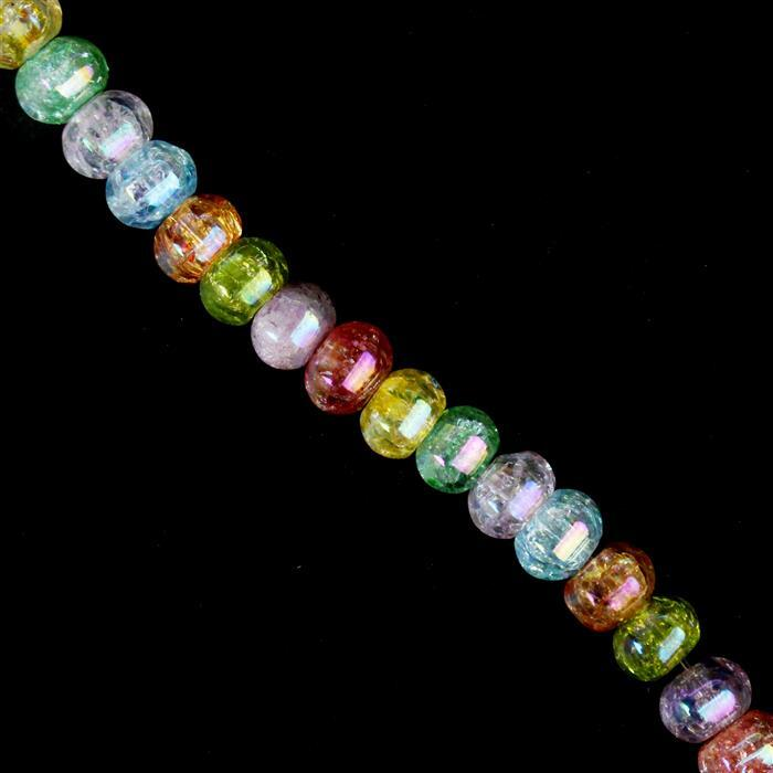 230cts Rainbow Coated Crackled Multi-Colour Quartz Lantern Beads Approx 8x6mm, Approx 38cm strand