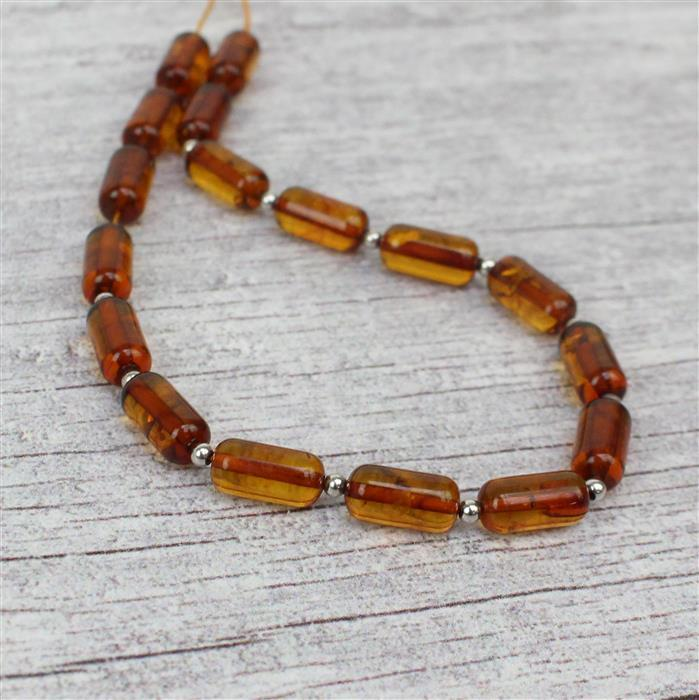 Baltic Cognac Amber Rounded Barrel Beads Approx 10x5mm Strand 20cm, 925 Silver Spacer Beads