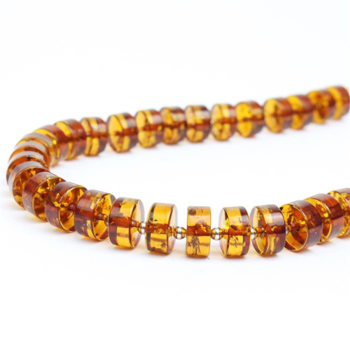 Baltic Cognac Amber Wheel Beads Approx 8x4mm 20cm Strand with Sterling Silver beads