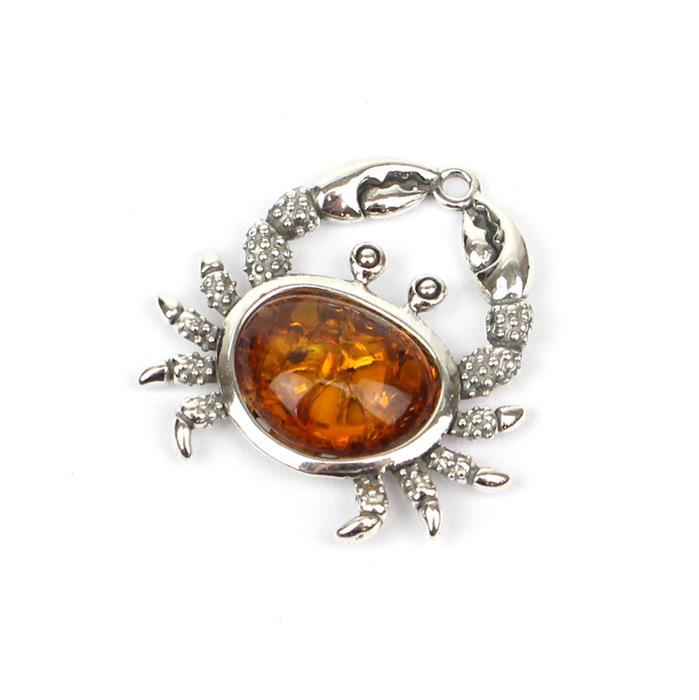 Baltic Cognac Amber Crab Charm Sterling Silver