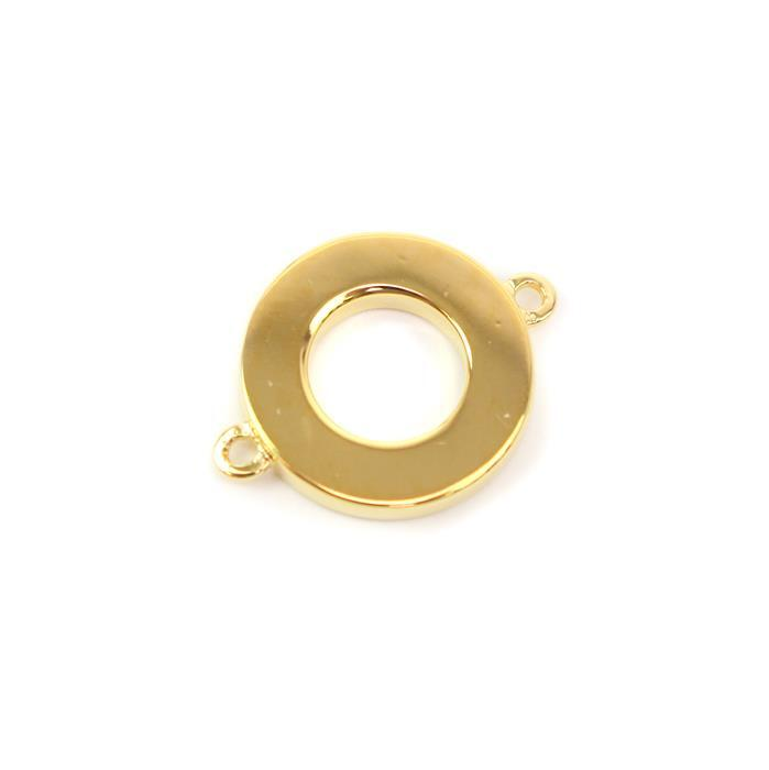 Gold Plated 925 Sterling Silver Circle Connector Approx 12x16mm 1pc
