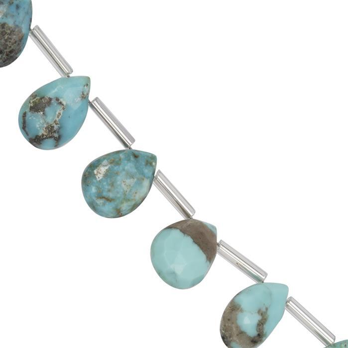 45cts Sleeping Beauty Turquoise Graduated Faceted Pears Approx 9X6 to 12x9mm, 20cm Strand with spacer